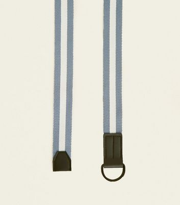 Navy Stripe Woven Double D Ring Belt