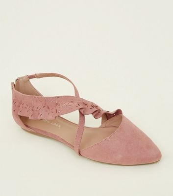 Wide Fit Pink Cut Out Ruffle Strap Pointed Pumps by New Look