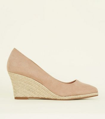 Nude Suedette Pointed Espadrille Wedges