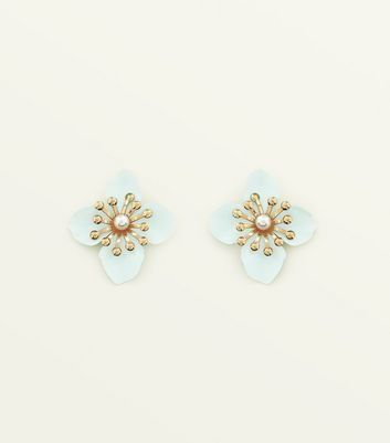 Mint Green Coated Flower Studs