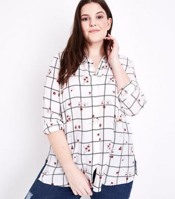 Curves White Floral Check Shirt