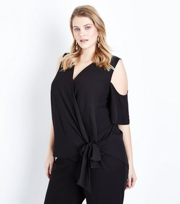 Curves Black Wrap Tie Front Top