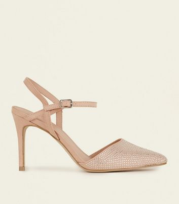 Nude Suedette Diamanté Toe Pointed Heels
