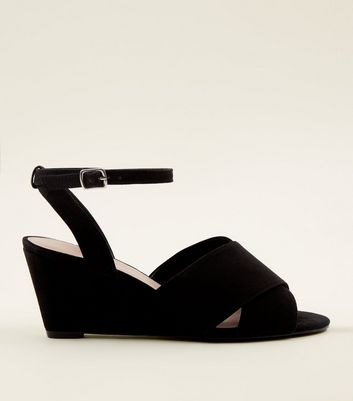 Black Suedette Ankle Strap Peep Toe Wedges