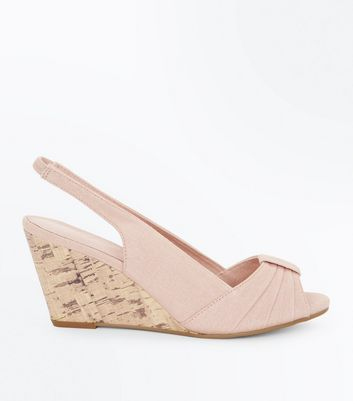 ... Nude Comfort Canvas Peep Toe Wedges