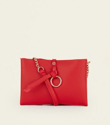 Red Faux Leather Chain Shoulder Bag