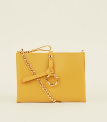 Mustard Leather-Look Chain Strap Shoulder Bag