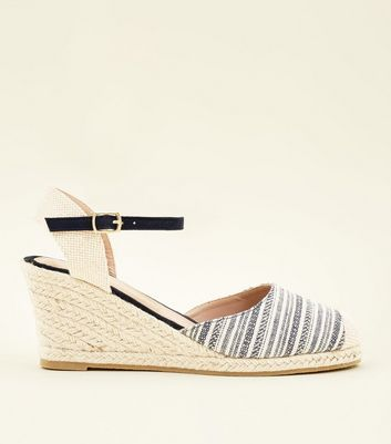 Navy Canvas Woven Stripe Espadrille Wedges