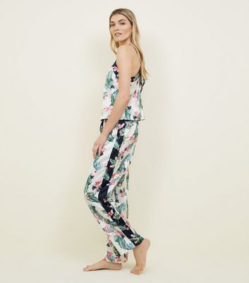 Soraya Off White Floral Leaf Print Satin Pyjama Trousers