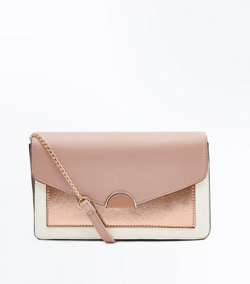 Nude Contrast High Shine Front Clutch Bag