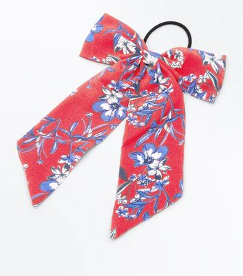 Red Floral Bow Ponio Hair Band