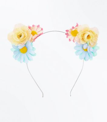Yellow and Blue Flower Cat Ears