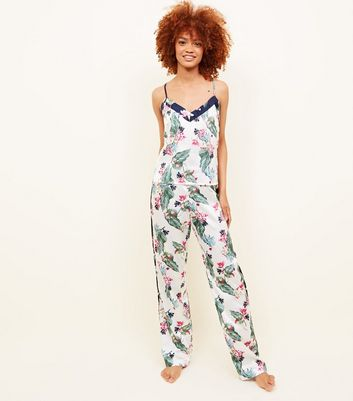 Soraya Tall Off White Floral Leaf Print Satin Pyjama Trousers