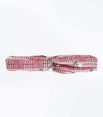 Plum Check Floral Twist Knot Headband