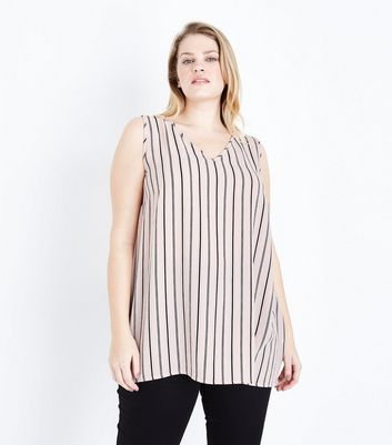 Curves Pink Vertical Stripe Sleeveless Top
