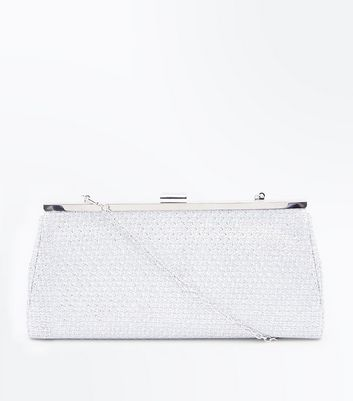 Silver Embellished Clutch Bag