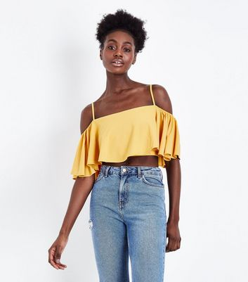 Yellow Flutter Sleeve Cold Shoulder Crop Top
