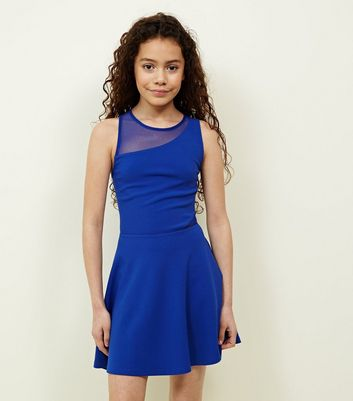 Teens Blue Mesh Scuba Skater Dress