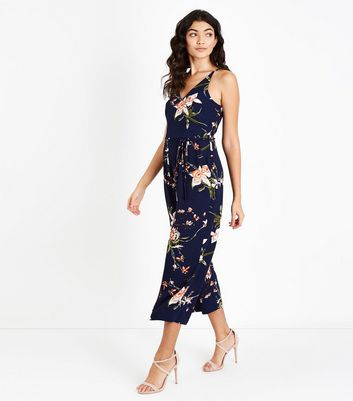 AX Paris Blue Floral Belted Culotte Jumpsuit