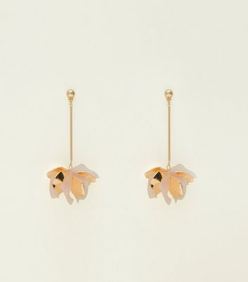Pink and Gold Flower Bomb Drop Earrings
