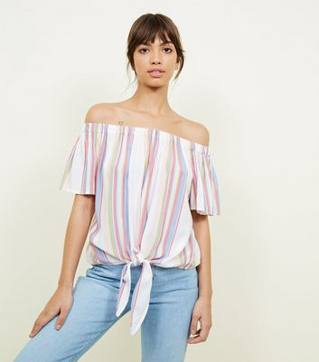 White Multi Stripe Tie Front Bardot Top