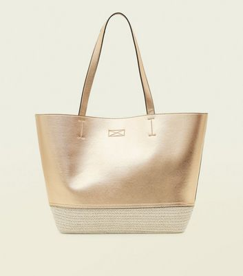 Rose Gold Contrast Straw Shopper Bag