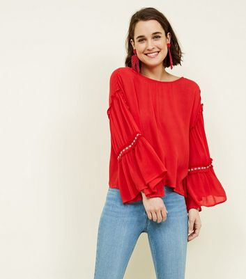 Blue Vanilla Red Tassel Aztec Embroidered Sleeve Top