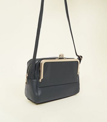 Black Clip Side Pocket Cross Body Bag