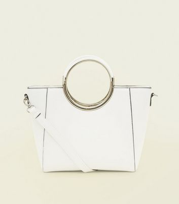 White Structured Ring Metal Handle Bag by New Look