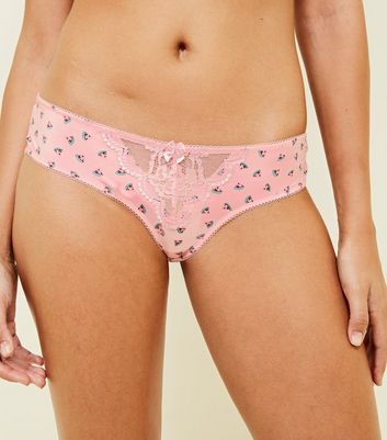 Pink Lace Watermelon Print Brazilian Briefs