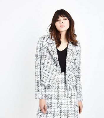 White Boucle Check Biker Jacket