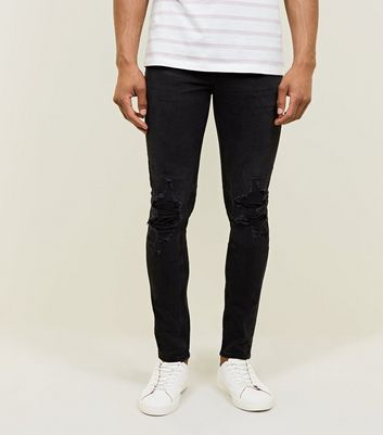 Black Ripped Knee Skinny Stretch Jeans