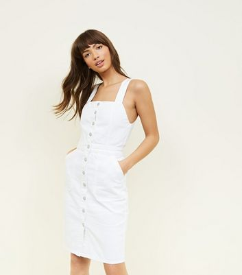 White Denim Button Front Pinafore Dress by New Look