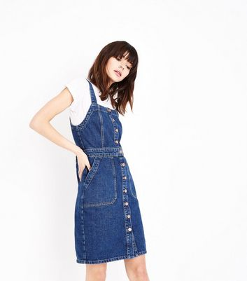 Blue Denim Button Front Pinafore Dress