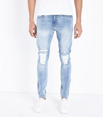 Pale Blue Light Wash Ripped Jeans