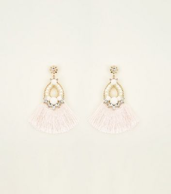 Pale Pink Pom Pom Tassel Chandelier Earrings