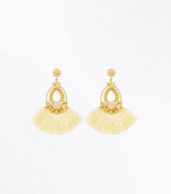 Pale Yellow Pom Pom Tassel Chandelier Earrings