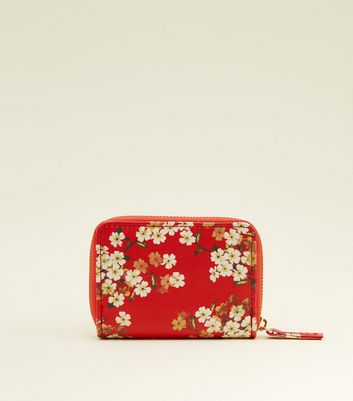 Red Ditsy Floral Print Zip Top Cardholder