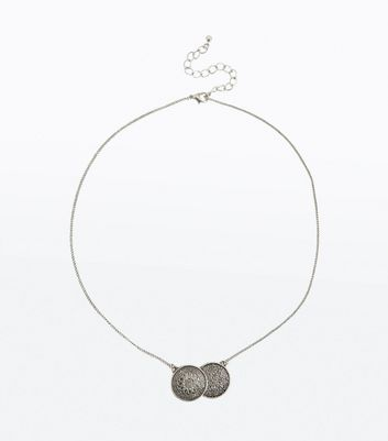 Silver Embossed Double Coin Necklace