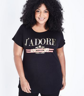 Curves Black J'Adore Metallic Slogan T-Shirt