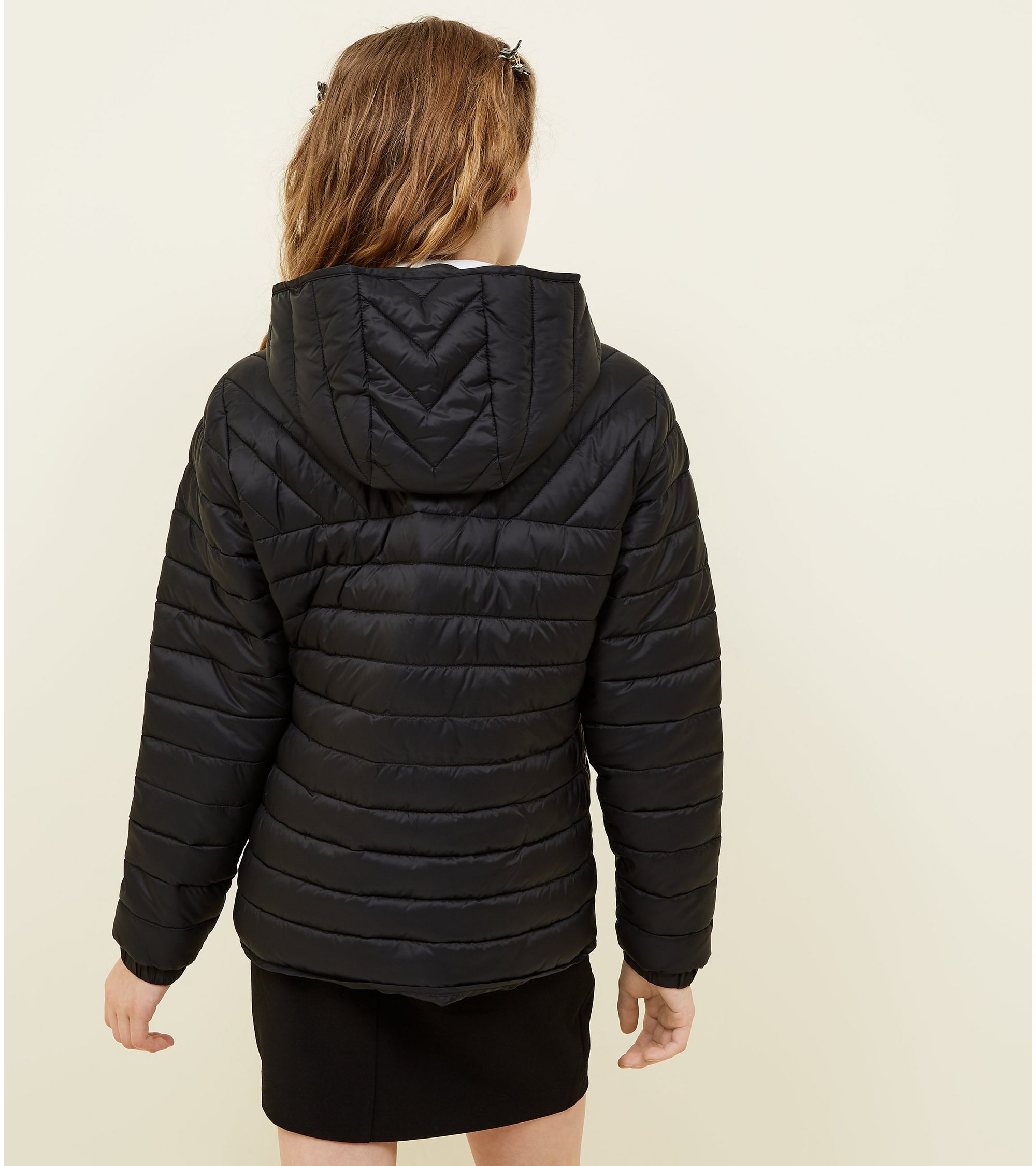 c36f6291c New Look Girls Black Lightweight Hooded Puffer Jacket at £14.99 ...