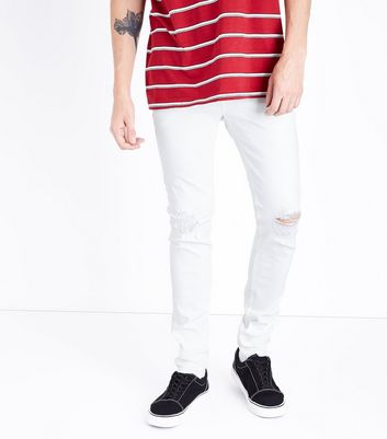White Ripped Knee Super Skinny Stretch Jeans