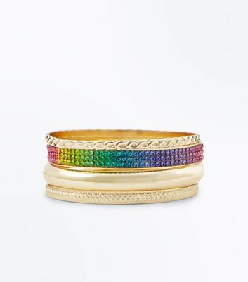 Multi Coloured Embellished Bangle Pack