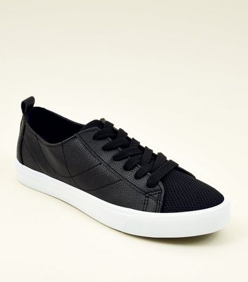 Black Fly Knit Lace Up Trainers