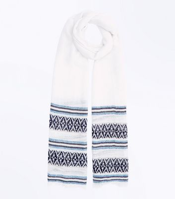 Blue Embroidered Woven Longline Scarf
