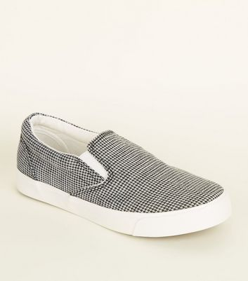 Black Canvas Houndstooth Slip On Trainers