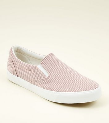 Pink Canvas Houndstooth Slip On Trainers