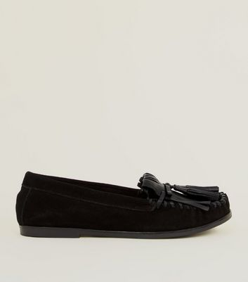 Black Suede Whipstitch Fringe Trim Loafers by New Look