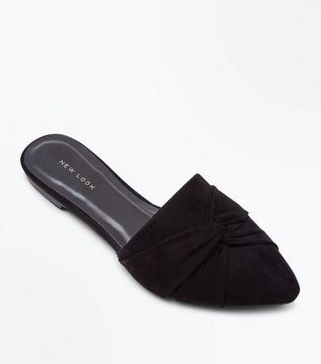 Black Suedette Twist Front Pointed Mules