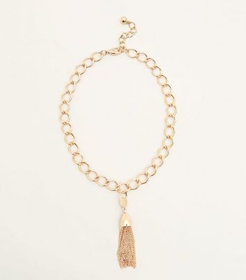 Gold Oversized Chain Tassel Necklace